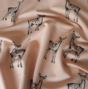 PRINTED FRENCH TERRY - DEERS ON POWDER PINK