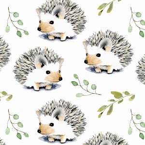 HEDGEHOG ON OFF WHITE - FRENCH TERRY FABRIC